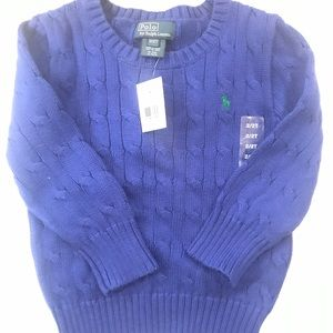 NWT Ralph Lauren Polo Blue Cable Knit Sweater 2T